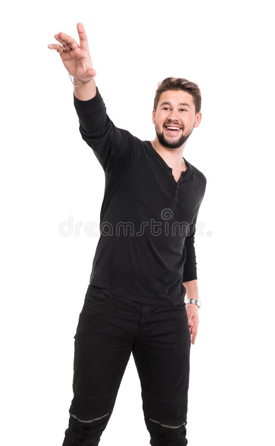 Homem novo da barba no t-shirt preto imagens de stock royalty free