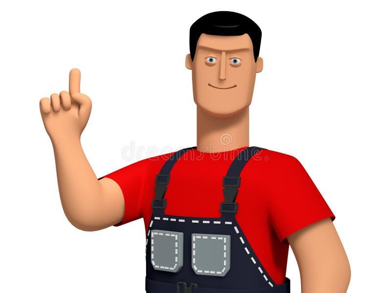 homem novo da ilustração 3d em macacões de um trabalho e t-shirt vermelho em um indicador acima aumentado ilustração stock