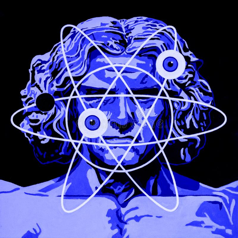 Homem novo de Vitruvian ilustração stock