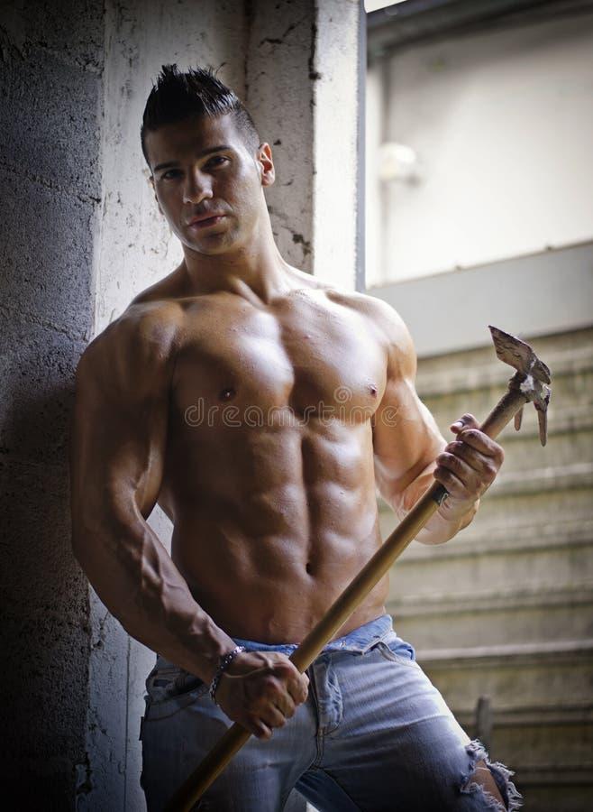 Homem novo descamisado muscular com cultivo da ferramenta imagem de stock
