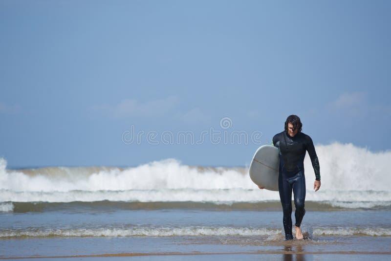 Homem novo do esporte do surfista que leva sua placa surfando e que sai o mar foto de stock