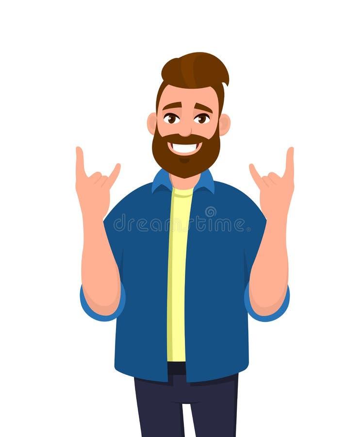 Homem novo do moderno que gesticula, fazendo ou fazendo o símbolo ou o sinal do rock and roll com mãos acima com expressão louca  ilustração stock