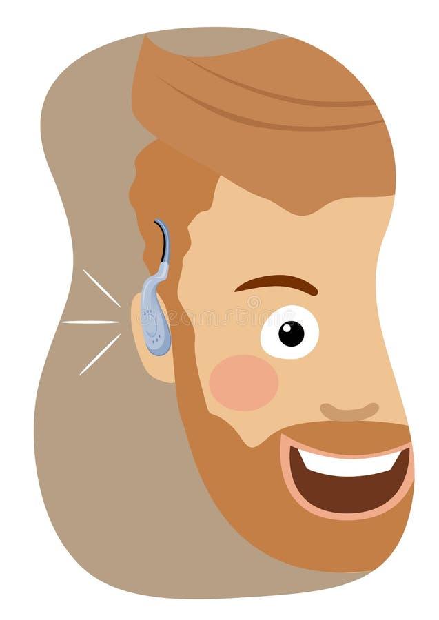 Homem novo do moderno que veste um sorriso da prótese auditiva ilustração stock