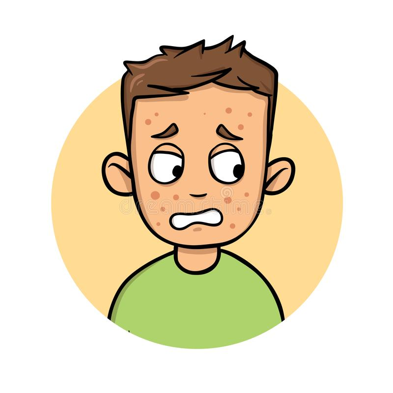 Homem novo dos desenhos animados com os pontos vermelhos em sua cara Ícone do projeto dos desenhos animados Ilustração lisa do ve ilustração royalty free