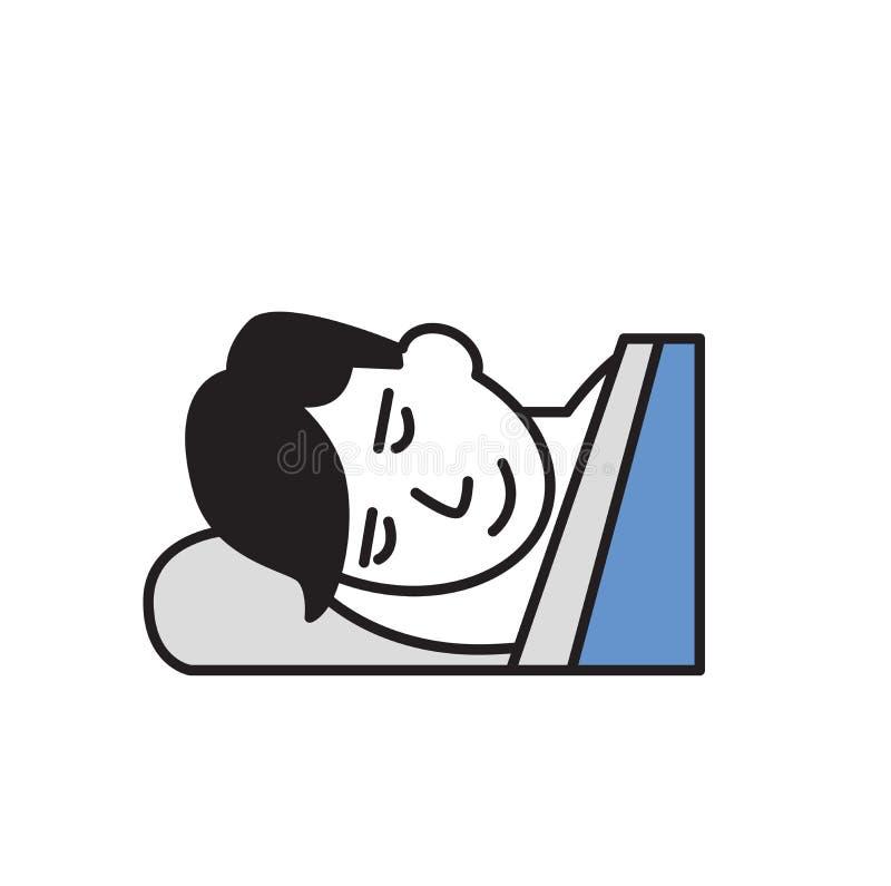 Homem novo dos desenhos animados que dorme em uma cama Ícone do projeto dos desenhos animados Ilustração lisa do vetor Isolado no ilustração royalty free