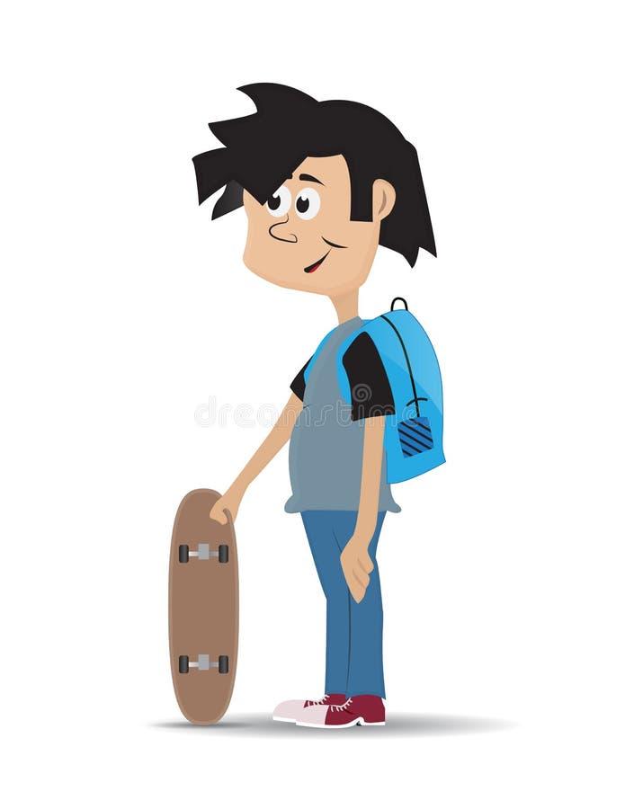 Homem novo dos desenhos animados que usa o skate ilustração do vetor
