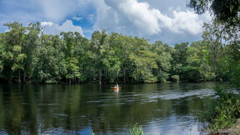 Homem novo dos pares e fotógrafo da mulher que kayaking abaixo de Santa Fe River em Florida em um caiaque amarelo com uma florest fotografia de stock