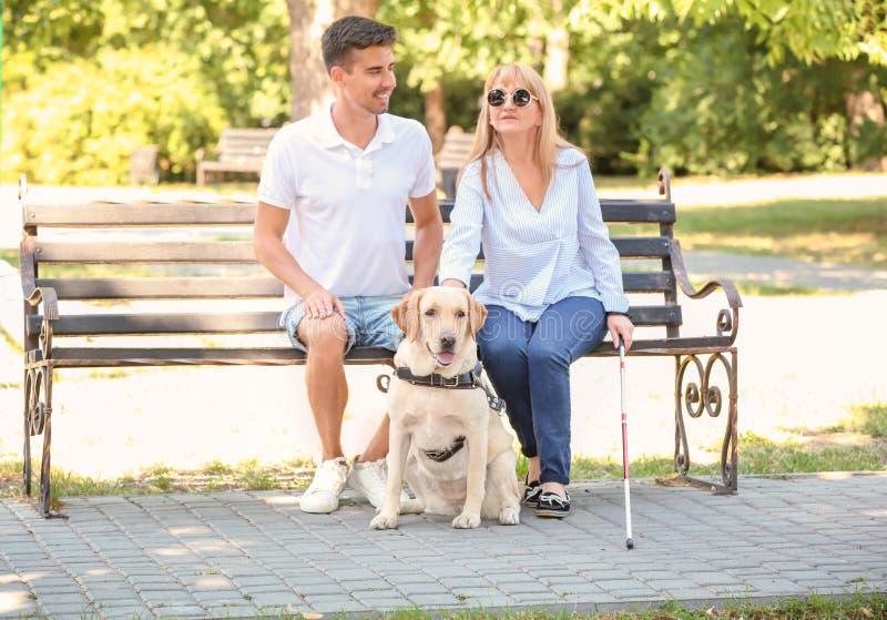 Homem novo e mulher cega com assento do cão de guia fotos de stock royalty free