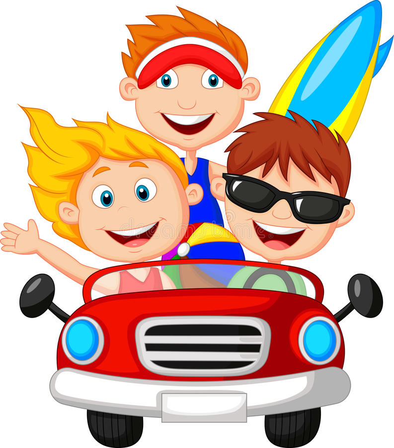 Homem novo e mulher dos desenhos animados que têm o divertimento que conduz o carro ilustração do vetor