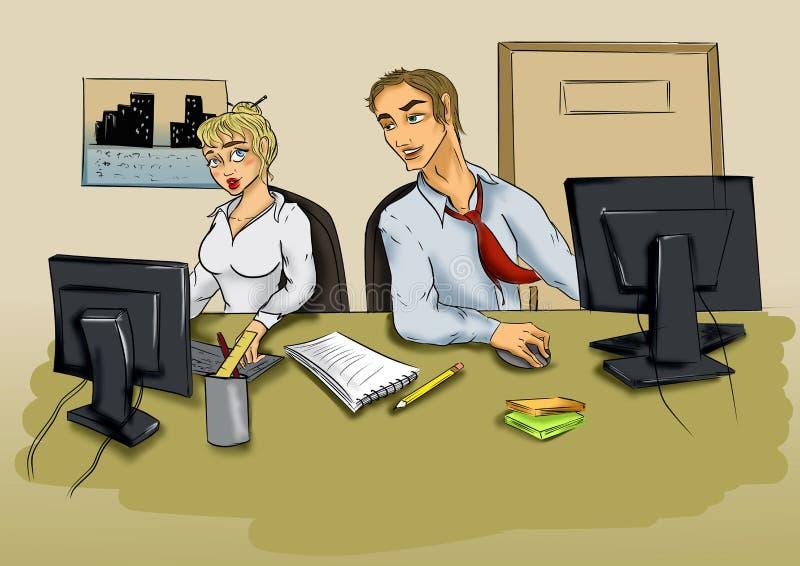 Homem novo e mulher no escritório na frente do computador ilustração do vetor