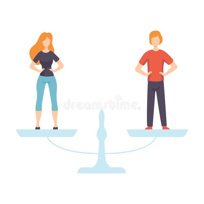 Homem novo e mulher que estão nas escalas, direitos iguais dos povos, igualdade de gênero na ilustração do vetor da sociedade ilustração stock