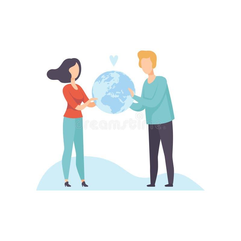 Homem novo e mulher que guardam a ilustração do vetor do globo da terra ilustração stock