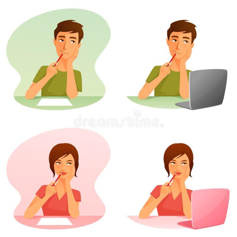 Homem novo e mulher que pensam, ou trabalhando com computador ilustração stock