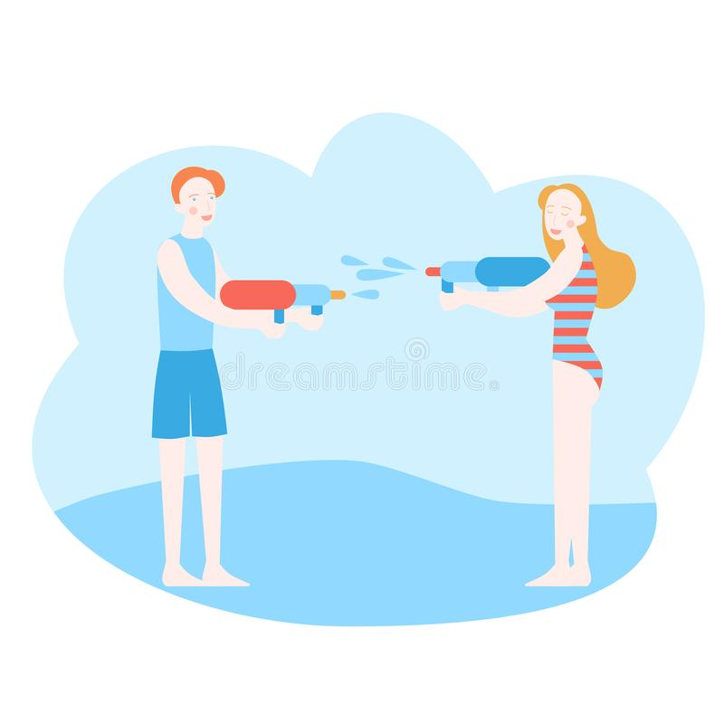 Homem novo e mulher que têm uma luta da água ilustração royalty free
