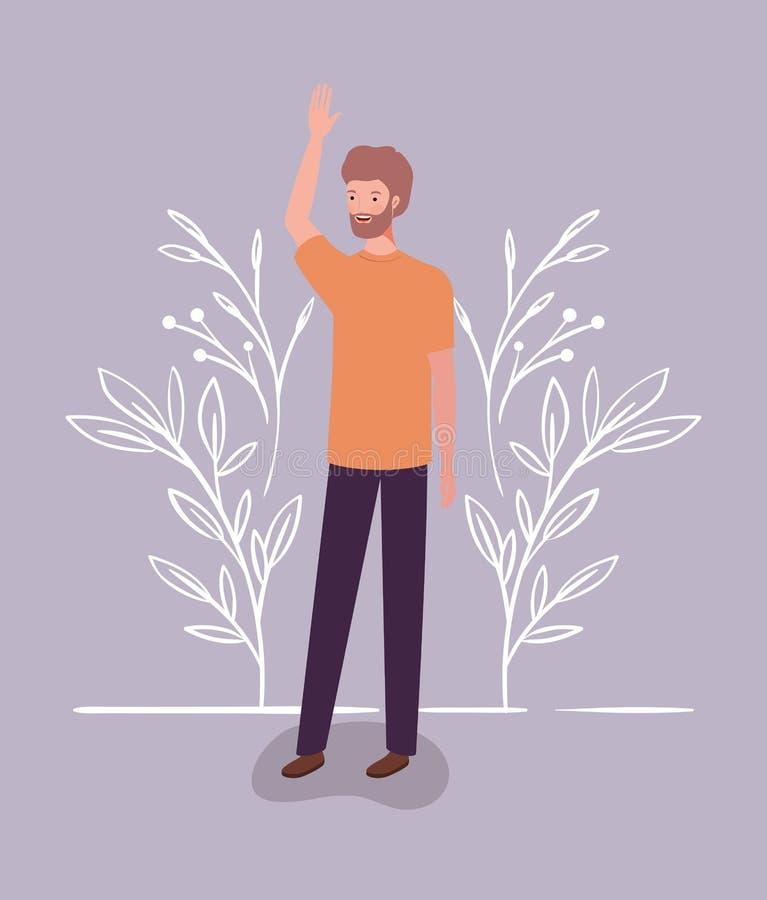 Homem novo e ocasional com caráter da barba ilustração royalty free