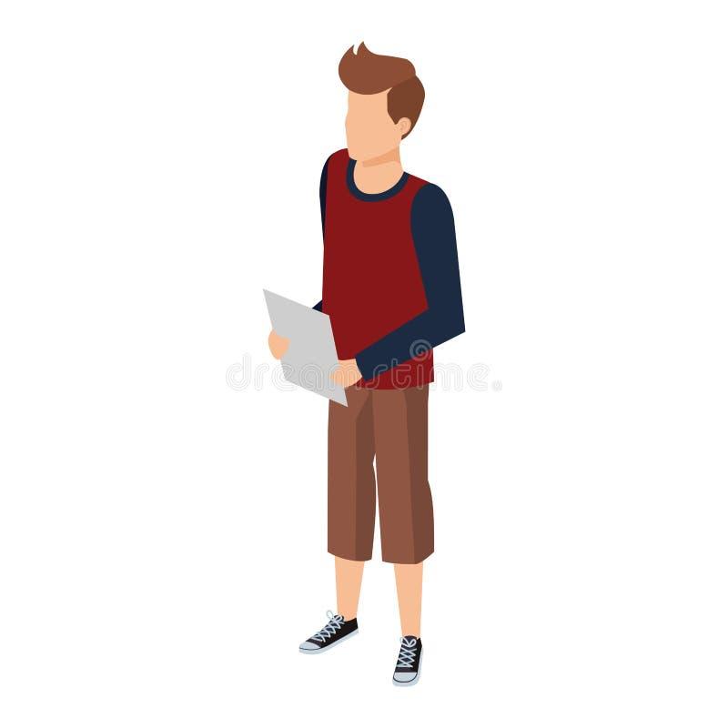 Homem novo e ocasional com documentos ilustração stock