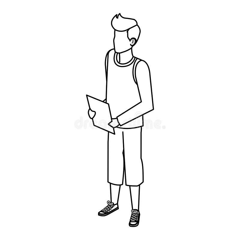 Homem novo e ocasional com documentos ilustração royalty free