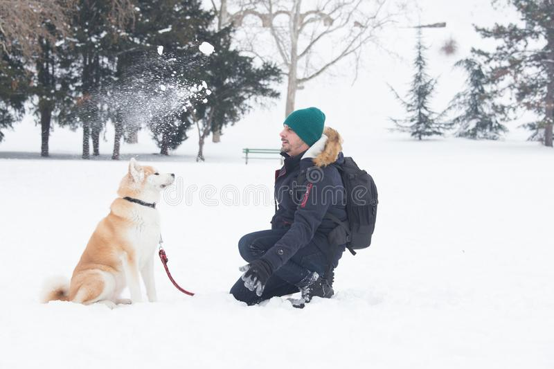 Homem novo e seu cão akita para jogar na neve foto de stock royalty free
