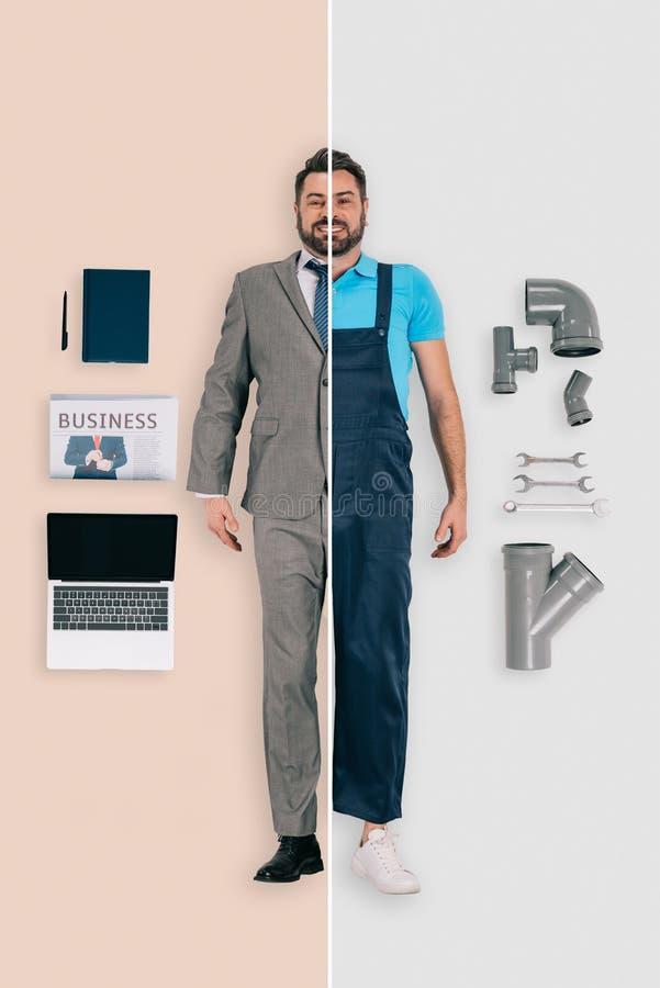 homem novo em duas ocupações do encanador e do homem de negócios em diferente fotos de stock
