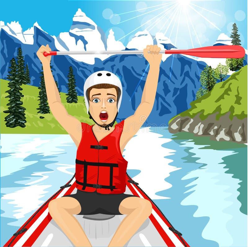Homem novo em um revestimento do cruzamento do barco da jangada que aumenta sua pá ilustração royalty free