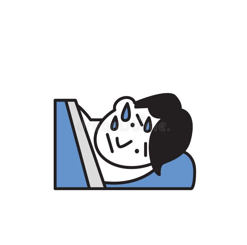 Homem novo embebido no suor que encontra-se em sua cama Ícone do projeto dos desenhos animados Ilustração lisa do vetor Isolado n ilustração royalty free