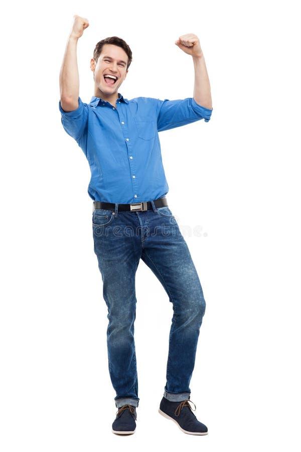 Homem Novo Excited Fotografia de Stock Royalty Free