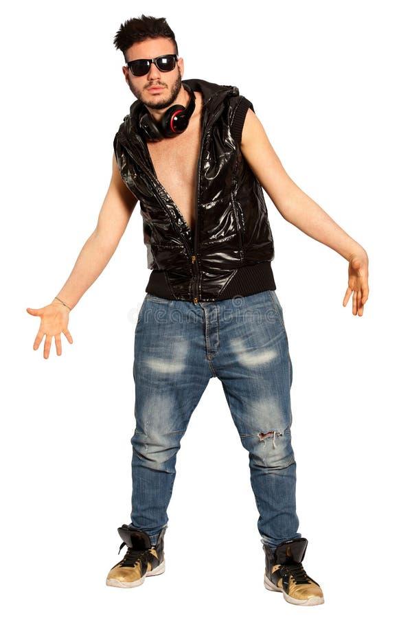 Homem novo fanático Estilo da rua do menino da intimidação No branco Png disponível fotos de stock