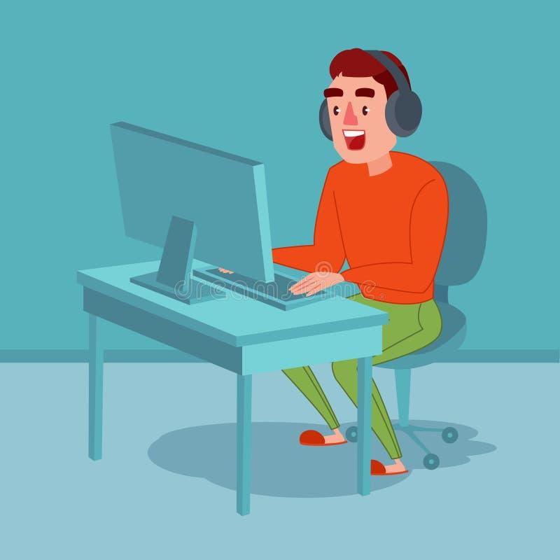 Homem novo feliz com os fones de ouvido que jogam o jogo de computador Guy Gamer Em linha fluindo ilustração royalty free