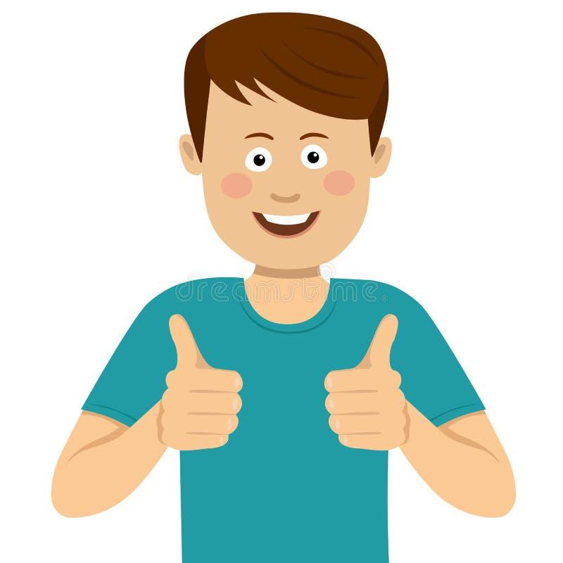 Homem novo feliz com polegares acima ilustração royalty free