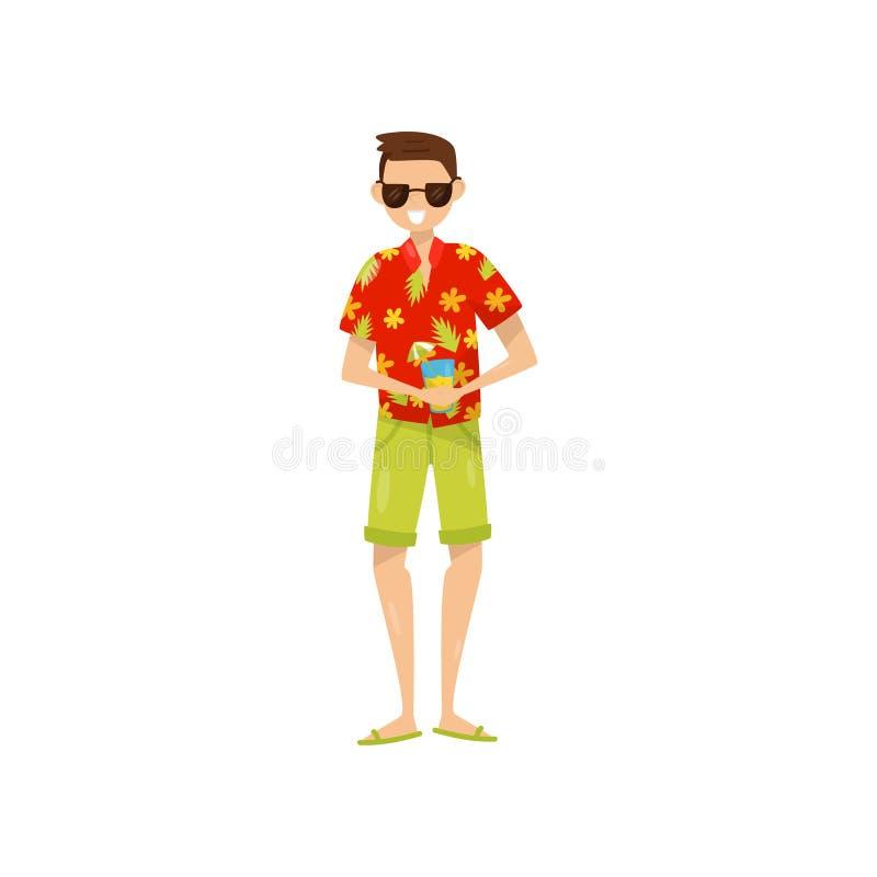 Homem novo feliz nos óculos de sol e na camisa do Hawaiian aloha que aprecia férias e que bebe a ilustração do vetor do cocktail  ilustração royalty free
