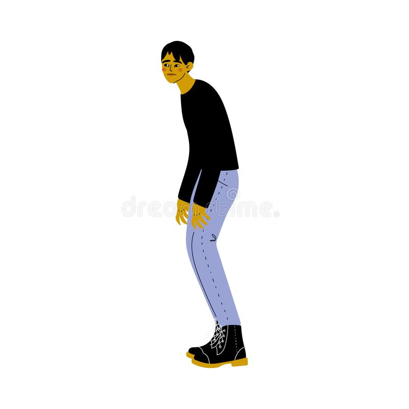 Homem novo inclinando-se na ilustração do vetor da roupa ocasional ilustração stock