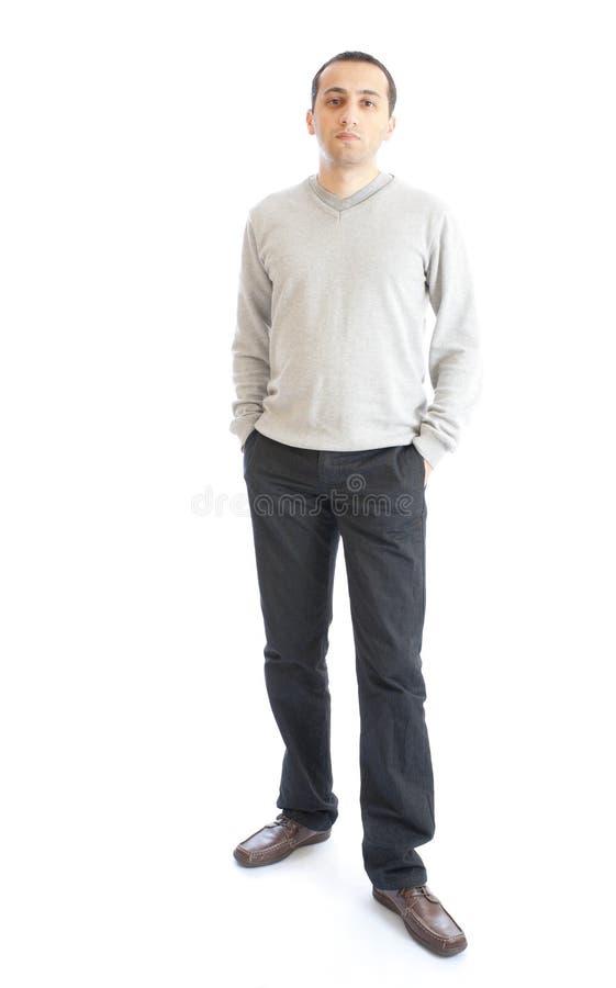 Homem novo isolado no fundo branco foto de stock