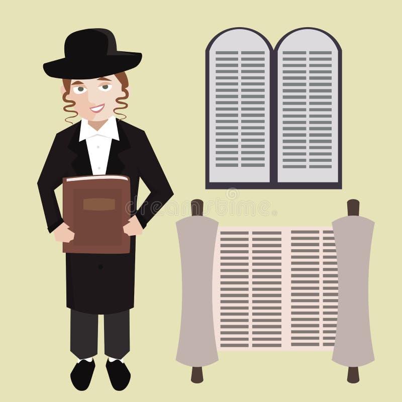 Homem novo judaico ortodoxo com a Bíblia Hebraica, rolo do torah, pedra ilustração stock