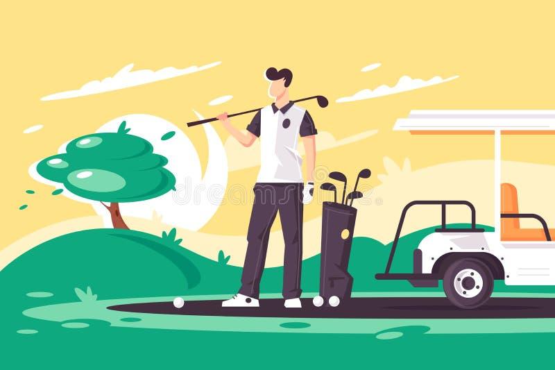 Homem novo liso com clube de golfe, carro no campo verde ilustração do vetor