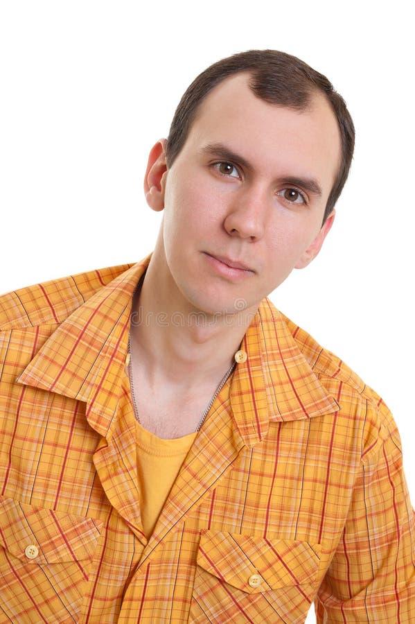 Homem novo na camisa fotografia de stock royalty free