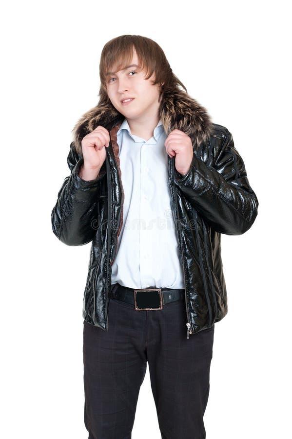Homem novo na roupa do inverno fotos de stock