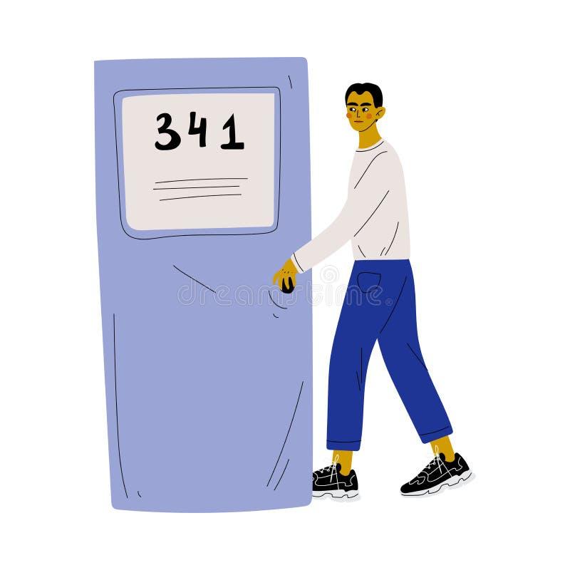 Homem novo na roupa ocasional que abre a porta e que vem na ilustração do vetor ilustração do vetor