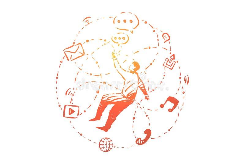 Homem novo no Cyberspace, usuário cercado com símbolos sociais dos meios, uma comunicação em linha, conversando ilustração do vetor