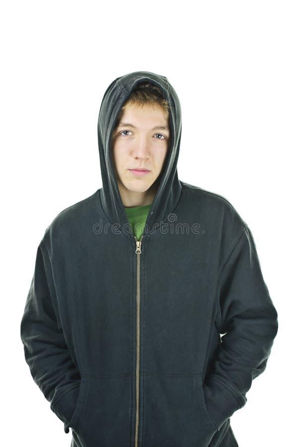 Homem novo no hoodie fotografia de stock royalty free