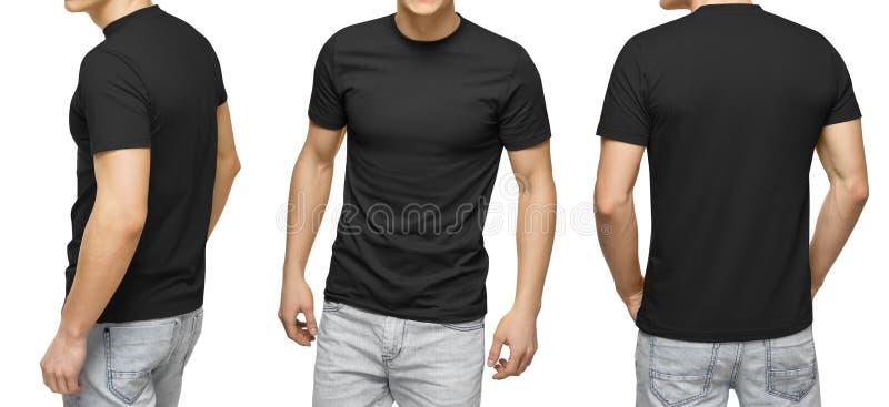 Homem novo no t-shirt preto vazio, na parte dianteira e na vista traseira, fundo branco Projete o molde e o modelo do tshirt dos  imagens de stock