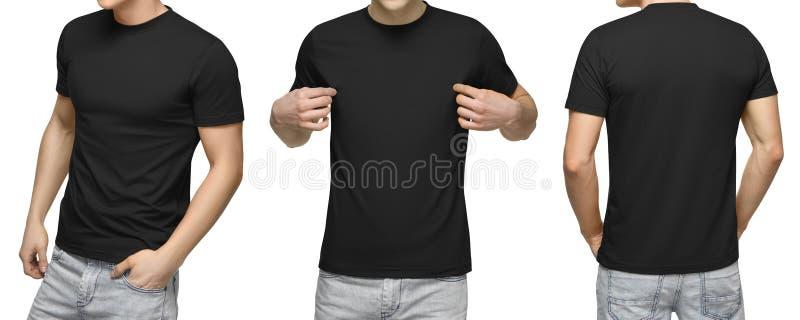 Homem novo no t-shirt preto vazio, na parte dianteira e na vista traseira, fundo branco Projete o molde e o modelo do tshirt dos  fotografia de stock