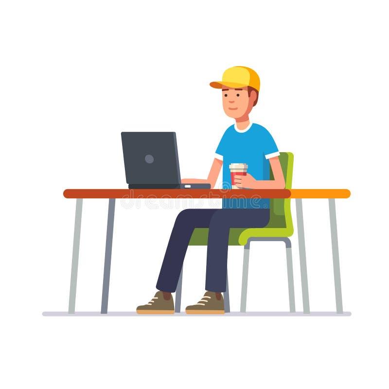 Homem novo no tampão que trabalha em sua mesa de escritório limpa ilustração royalty free