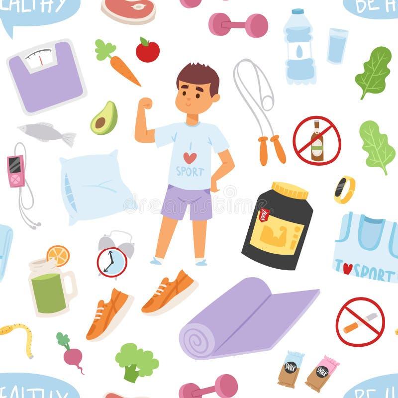 Homem novo no teste padrão sem emenda do estilo de vida saudável do gym dos desenhos animados da roupa dos esportes ilustração royalty free