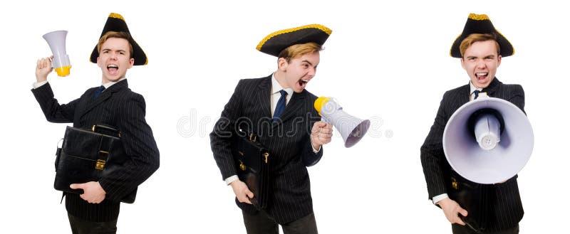 Homem novo no traje com o chapéu e o megafone do pirata isolados em w imagem de stock royalty free