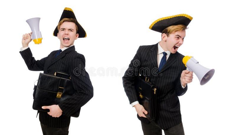 Homem novo no traje com o chapéu e o megafone do pirata isolados em w fotografia de stock royalty free