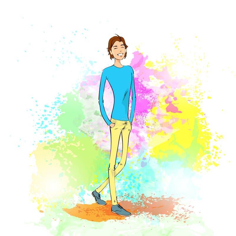 Homem novo ocasional da forma sobre a pintura colorida ilustração do vetor