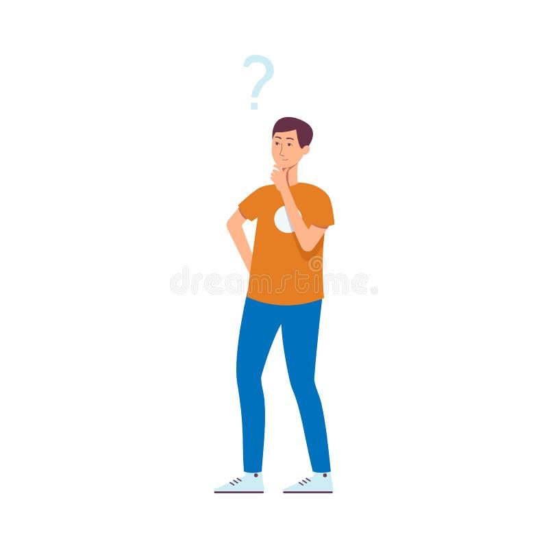 Homem novo ou indivíduo asiático ou caucasiano nas calças de brim que estão com pontos de interrogação acima de sua cabeça ilustração do vetor