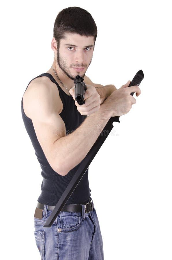 Homem novo pronto para lutar fotos de stock