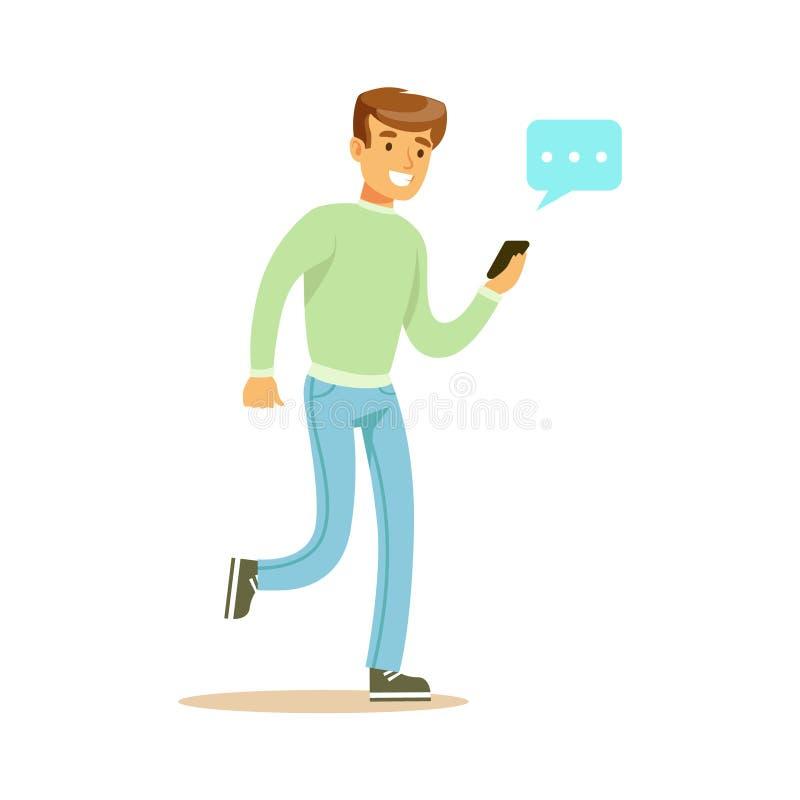 Homem novo que anda e que envia uma mensagem a alguém que usa sua ilustração colorida do vetor do caráter do smartphone ilustração stock