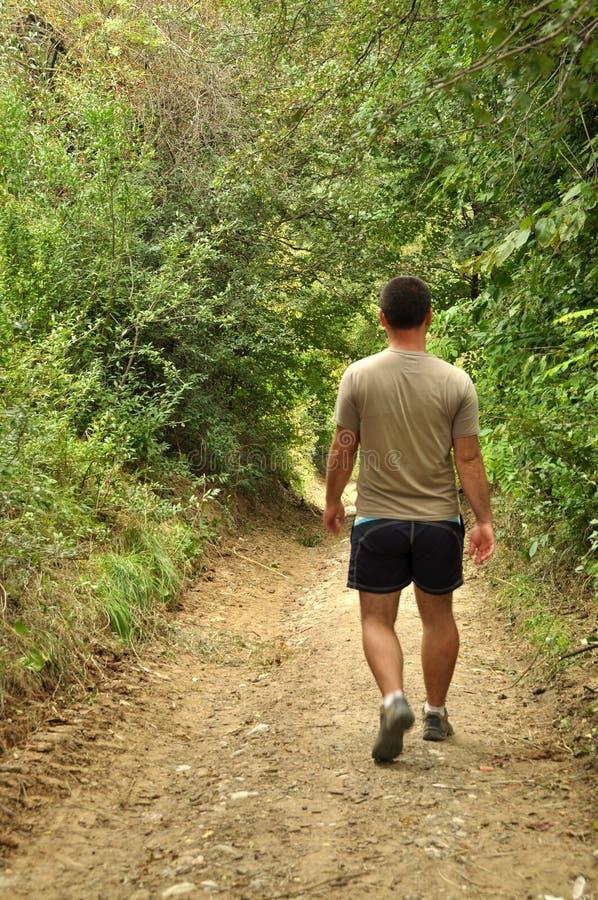 Homem novo que anda em uma estrada do campo imagem de stock
